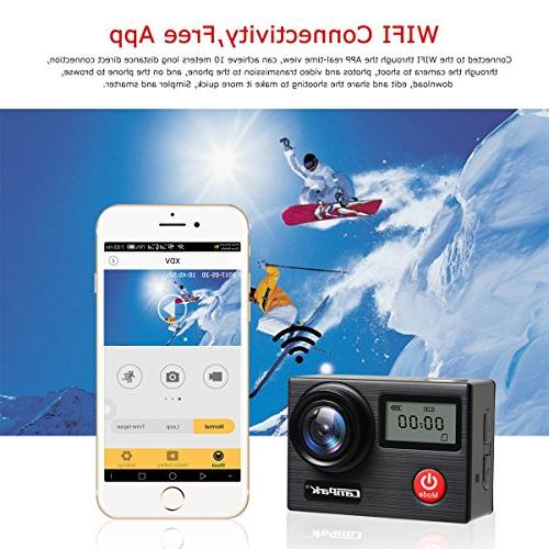 Campark Camera 4K Touch Waterproof Sensor Underwater EIS, Remote Control