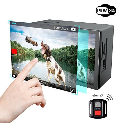 Campark Action 4K Screen Waterproof Video Sony Sensor Camcorder with EIS, Dual Screen, Remote Control