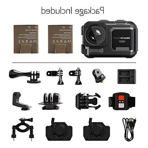 Dragon Touch 4K Camera Camera Without Case 5 Angle WiFi Sports Camera with Remote Control Accessories
