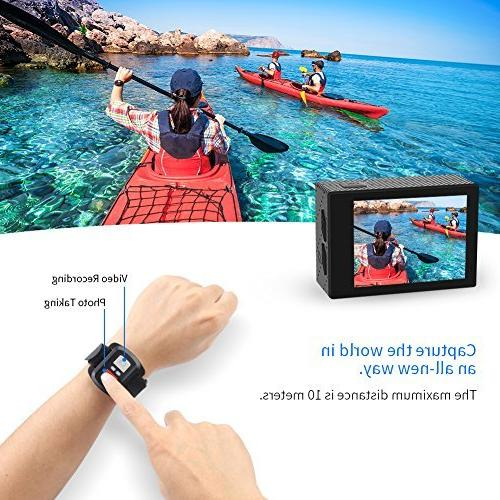 Crosstour Action 4K WiFi Underwater Cam Sports Control 170°Wide-Angle LCD 1050mAh Batteries Mounting Accessories Kit