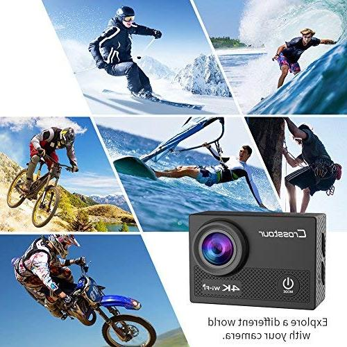 Crosstour 4K WiFi 16MP Sports Camera with Control LCD 1050mAh Batteries and Mounting Accessories