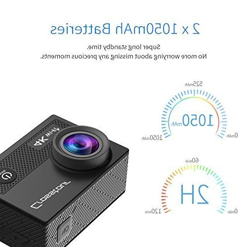 Crosstour Camera WiFi Underwater Sports Control 2 LCD 1050mAh Accessories Kit