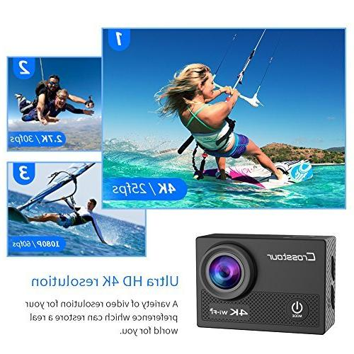 Crosstour WiFi 16MP Sports Camera with Control LCD 2 1050mAh