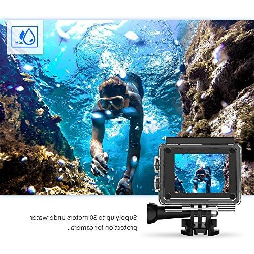 Crosstour WiFi Sports Camera with Control 2 Inch LCD Plus 2 Rechargeable 1050mAh Accessories Kit