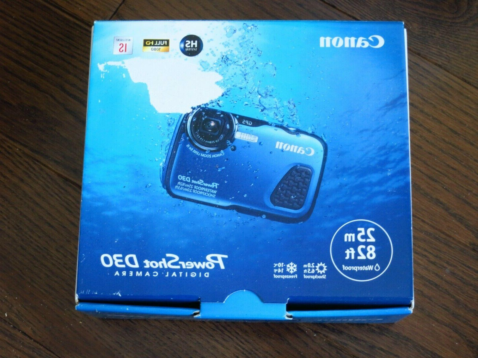 Brand New Canon PowerShot D30 Blue 12.1MP Waterproof to 25m