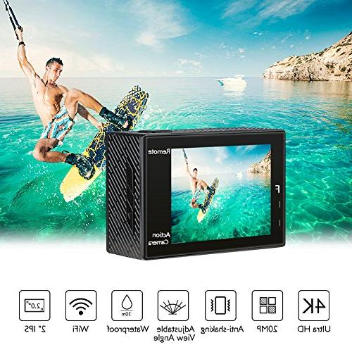 AKASO Brave 20MP Ultra HD EIS 30m Underwater Camera Remote Underwater with Batteries Kit