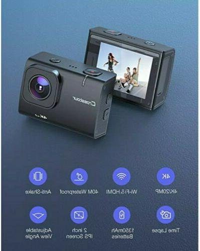 Crosstour CT9500 4K50FPS Action Camera 20MP Waterproof sealed
