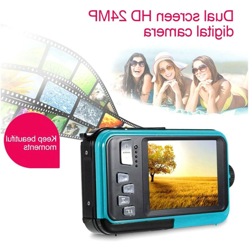 24MP Underwater Waterproof Digital Camera w/Full-Color Selfi