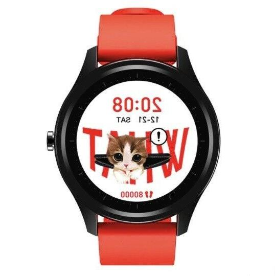 dt55 smartwatch black case red strap waterproof