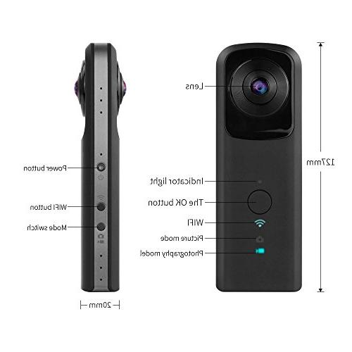 YUNTAB 360-Degree Panoramic WiFi Video 1400mAh Two 210-Degree Ultra Wide Angle Lens Panoramic