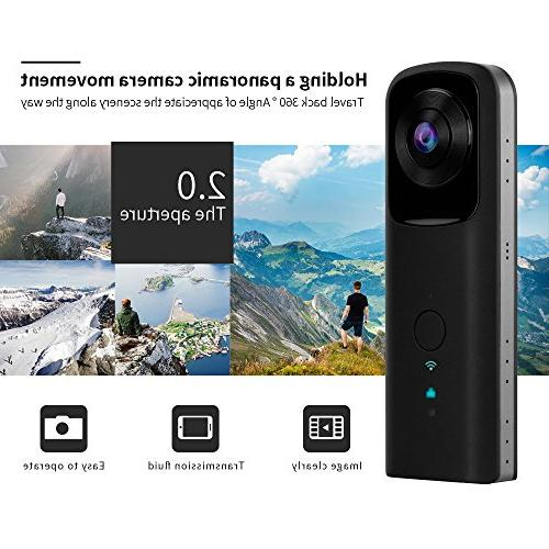 YUNTAB 360-Degree Camera WiFi Video 1400mAh Two Lens Panoramic