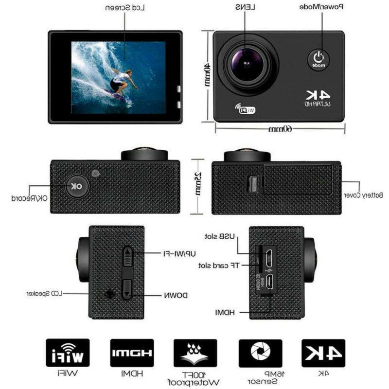 1080P 4K Full Waterproof WiFi Sport Action Camera Travel DVR