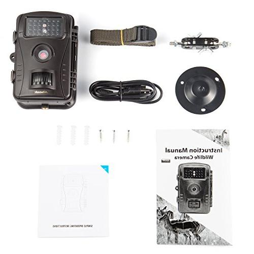 "Trail Camera, Abask Game And With Waterproof 2.4"" LCD 50 Vision Distance, Black"