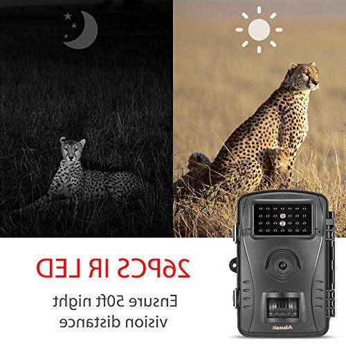 "Trail Camera, Game And Hunting With Waterproof 2.4"" Screen 50 ft Distance,"