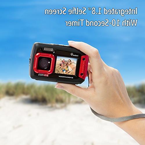 Ivation Underwater Waterproof Shockproof Camera Video w/Dual LCD Displays Submersible Feet