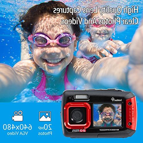 Ivation Underwater Shockproof Video Camera w/Dual Full-Color LCD Submersible to Feet