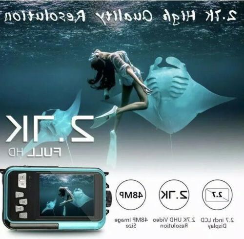 Waterproof Camera Underwater 10 FT 2.7K Full HD 48MP 16X Digital Zoom