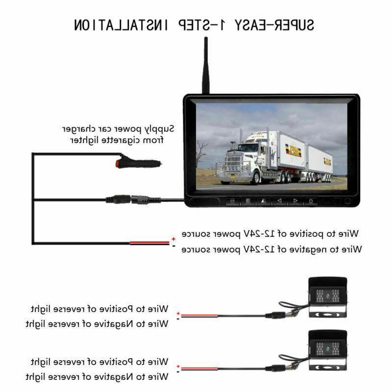 "Wireless Waterproof Backup Camera + 7"" Screen Monitor Truck"