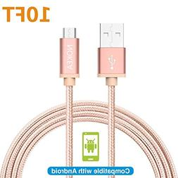 NOKEA 1 Pack 10FT  Lightning Cable Charging Cord Nylon Braid