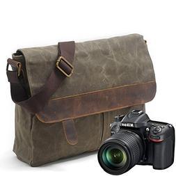 Awaytoy Men's Camera Messenger Bag Waterproof Wax Canvas wit