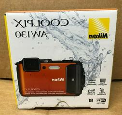 New Nikon Coolpix AW130 16.0MP Waterproof Digital Camera Ora