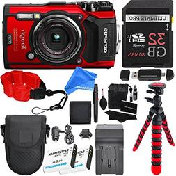 Olympus TG-5 Waterproof Camera RED with 3-Inch LCD, Red , 32