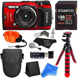 Olympus TG-5 Waterproof Camera with 3-Inch LCD, Red , 32GB C