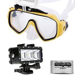 Opteka Goggles Scuba Diving Mask + Waterproof LED Flash Ligh