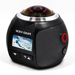 360 Degree Panoramic VR Action Camera,Spherical Lens, Waterp