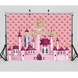 WOLADA 7x5ft Pink Castle Birthday Party Photography Backgrou