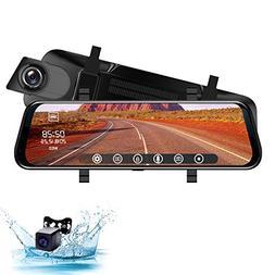Rear View Mirror Dash Cam 10-Inch 1080P Full HD Touch Screen