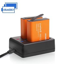 2 x 1350mAh Rechargeable CAMKONG Action Camera Battery Dual