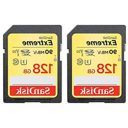 SanDisk 2 Pack of 128GB Extreme SD Memory UHS-I Card