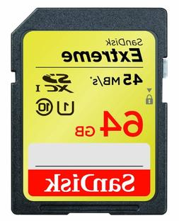 SanDisk Extreme 64GB SDXC UHS-1 Flash Memory Card Speed Up T