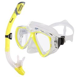 Ivation Snorkel Mask Set - Adult Snorkeling Gear - Double Le