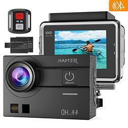 JEEMAK Sports Action Camera 4K 16MP Touch Screen 98ft Waterp