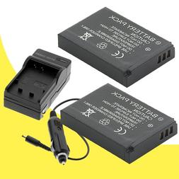 TWO NB-6L Batteries and Wall Charger with Car Charger Adapte