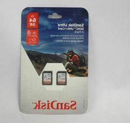 Sandisk Ultra 64GB 2‑Pack SDHC UHS-I Class 10 Memory Card