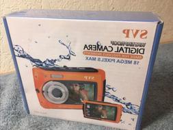 "Underwater Camera 2.7"" Dual Screen Orange Svp 5800 Photograp"