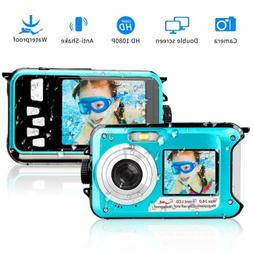 Underwater Camera 24.0MP 1080p Selfie Dual Screen Waterproof