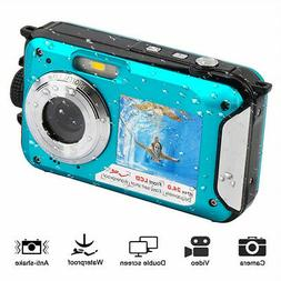 Underwater Waterproof Digital Camera HD 1080P 24MP Dual Scre