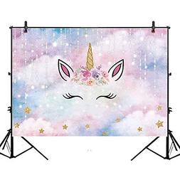 Allenjoy 7x5ft Unicorn Theme Birthday Party Backdrop Glitter