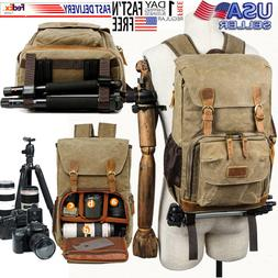 Vintage Camera Photography Backpack Waterproof Leather Canva