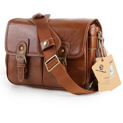 Koolertron Waterproof Vintage PU Leather DSLR Camera Bag Len