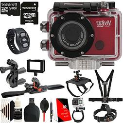 Vivitar DVR794HD Wi-Fi Waterproof Action Camcorder Red with