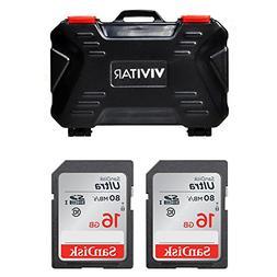 Vivitar Memory Card Hard Protector Case, Holds 4 CF, 8 SD &