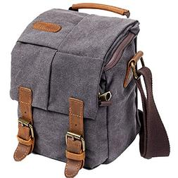 Wowbox Waterproof Canvas Camera Bag Genuine Leather Trim DSL