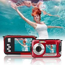 Waterproof Underwater Digital Camera,24MP 1080P Dual Screen