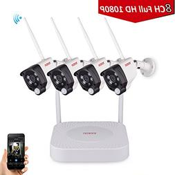 Tonton 1080P Full HD Wireless Security Camera System, 8CH NV