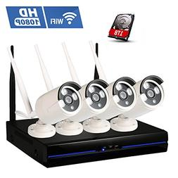 1080P Wireless Camera Security System, Amgaze Wifi 4CH Surve